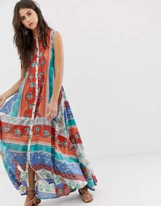 Aratta swing maxi dress in contrast panel