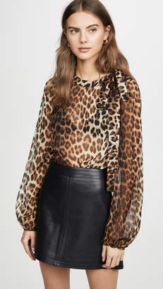 No.21 No. 21 Leopard Long Sleeve Blouse