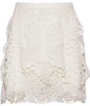 Chloé Layered Broderie Anglaise Linen-blend And Tulle Mini Skirt