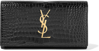 Saint Laurent - Croc-effect Patent-leather Continental Wallet - Black $745 thestylecure.com