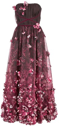 Marchesa 3D draped floral print organza tea length dress