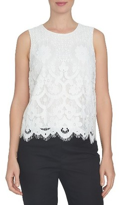 Women's Cece Foral Lace Shell $89 thestylecure.com