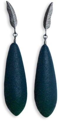 Diana Arno Winged Victory Silver Feather Earrings With Earberries