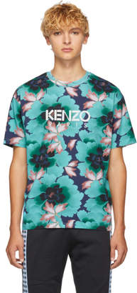 Kenzo Blue Indonesian Flower Straight T-Shirt