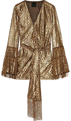 Anna Sui - Fringed Metallic Devoré-chiffon Wrap Top - Gold