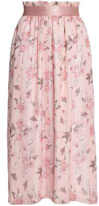 Mother of Pearl Lame-trimmed Floral-print Georgette Midi Skirt