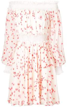 Giambattista Valli petal print off shoulder dress
