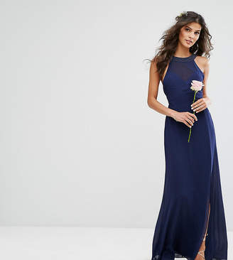 TFNC Chiffon Maxi Bridesmaid Dress with Tonal Embellishment and Tie Detail
