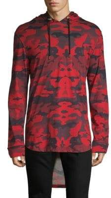 Balmain Camouflage High-Low Cotton Hoodie