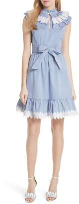 Ted Baker Stripe Frill Bib Fit & Flare Dress