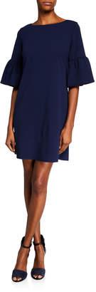 053fc0570c Neiman Marcus Angel-Sleeve Crepe Shift Dress