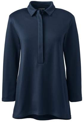 Lands' End Blue Plus Three-Quarter Length Sleeve Pima Polo Shirt