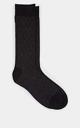 Barneys New York Men's Diamond-Pattern Wool-Blend Mid-Calf Socks - Black