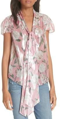 Alice + Olivia Jeannie Bow Collar Silk Blend Top