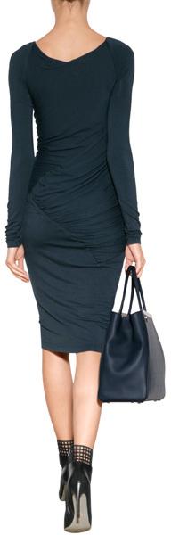 Donna Karan Long Sleeve Draped Dress in Slated Blue