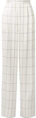 The Row Wendal Checked Silk-satin Wide-leg Pants - Off-white