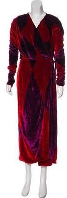 ATTICO Velvet Long Sleeve Wrap Dress