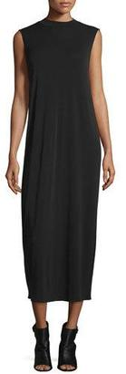 Eileen Fisher Funnel-Neck Sleeveless Silk Dress, Black $338 thestylecure.com