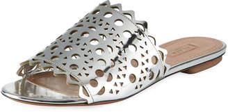 Alaia Laser-Cut Flat Slide Sandals