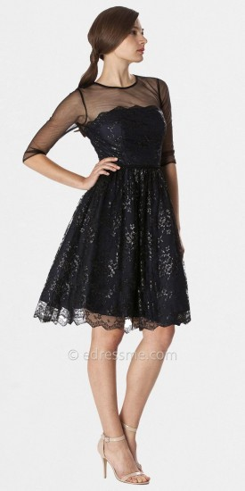 JS Boutique Black Sequin Lace Cocktail Dresses