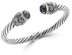 Effy 11MM Black Pearl and Goldtone Sterling Silver Bracelet