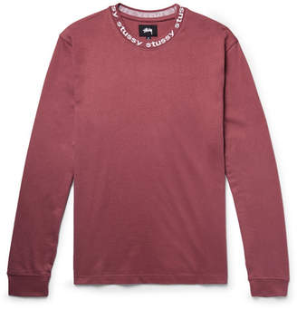 Stussy Owen Logo-Print Cotton-Jersey T-Shirt - Men - Plum