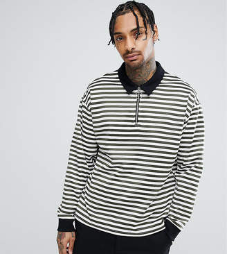 Reclaimed Vintage Inspired Over Sized Long Sleeve Polo Stripe