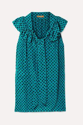 Michael Kors Pussy-bow Ruffled Polka-dot Silk-crepe Blouse - Turquoise