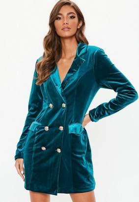 Missguided Teal Velvet Double Breasted Blazer Dress, Teal