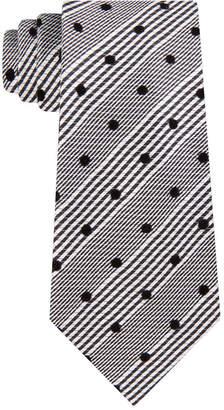 Sean John Men Classic Flocked Dot Check Tie