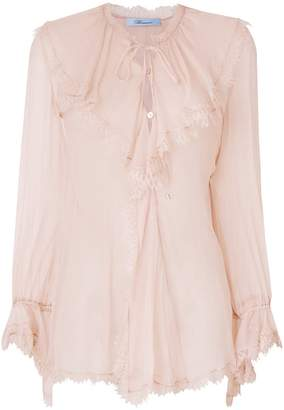 Blumarine sheer long-sleeve blouse