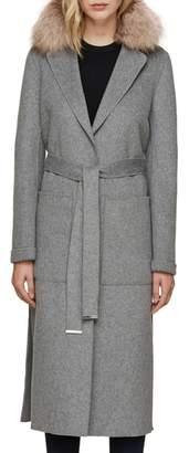 Soia & Kyo Wool Blend Genuine Fox Fur Trim Belted Coat