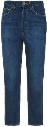 A Gold E Agolde Riley Straight Cropped Jeans