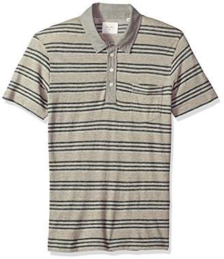 Billy Reid Men's Short Sleeve Linen Collar Cashmere Polo with Pocket