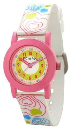 Pic Et Poc POC-3031952Pick and Strap Girls Watch-Analogue Quartz-Pink Dial-White Plastic