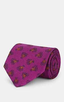 Drakes Drake's Men's Pineapple-Pattern Silk Faille Necktie - Md. Purple