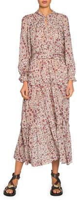 Etoile Isabel Marant Likoya Tiered Long-Sleeve Maxi Dress