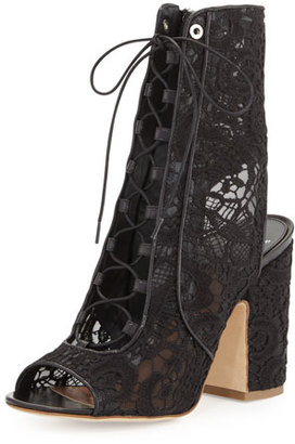 Laurence Dacade Nelly Lace Lace-Up Bootie, Black $995 thestylecure.com