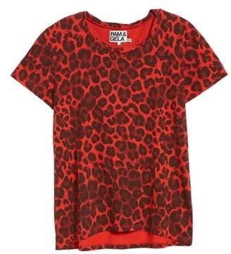 Pam & Gela Leopard Print Cutout Tee