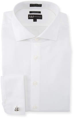 Neiman Marcus Trim-Fit Non-Iron Solid Horizontal-Dobby Dress Shirt