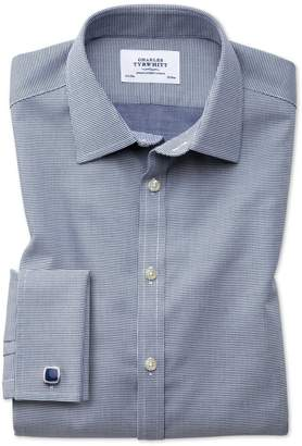 Charles Tyrwhitt Extra Slim Fit Non-Iron Square Weave Navy Blue Cotton Dress Shirt French Cuff Size 14.5/32