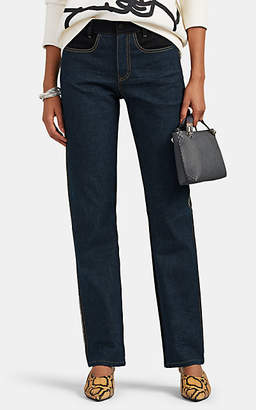 Colovos Women's Colorblocked Mid-Rise Straight Jeans - Blue
