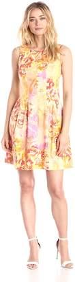 Gabby Skye Women's Sleeveless Printed Inverted Pleats Dress
