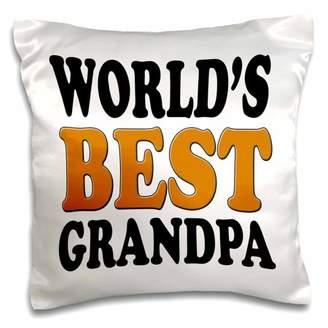 3dRose Worldis Best Grandpa, Orange, - Pillow Case, 16 by 16-inch