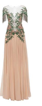 Pamella Roland Floral Embellished Tulle Gown
