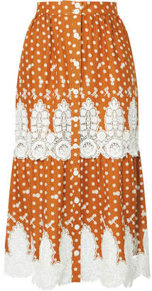 Miguelina Carolina Crocheted Polka-dot Cotton Midi Skirt - Tan