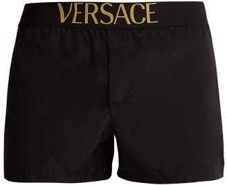 Versace Logo Jacquard Swim Shorts - Mens - Black