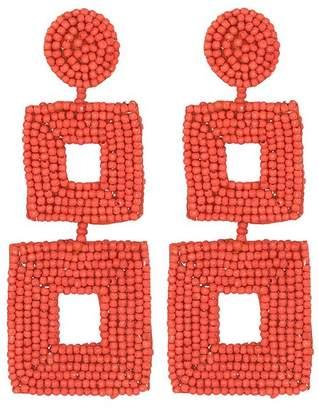 Kenneth Jay Lane Coral Seed Bead Open Double Square Shape Drop Pierced Or Clip Earrings