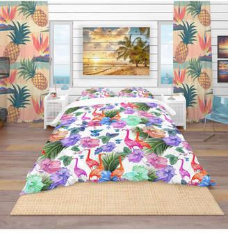Flamingos Designart 'Tropical Pattern With Flamingos' Tropical Duvet Cover Set - Queen Bedding