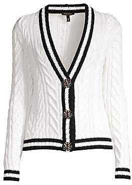 Escada Women's Soros Cable Knit Jewel Button Cardigan